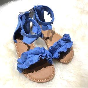 BabyGap blue ruffle sandals toddler girl size 8